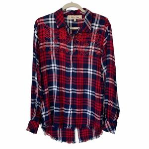 Sheryl Crow Red & Blue Plaid Embroidered Shirt
